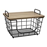 Gourmet Basics by Mikasa Madam Metal Stacking/Nesting Rectangular Basket with Acacia Lid, Antique Black