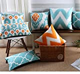 Stephen Cushion Cover - Moroccan Cushions Covers Velvet Throw Pillow Geometric Decorative Pillows Case Orange Blue Cushion Cover Home Decor for Sofa - by 1 PCs