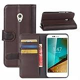 Funda Vodafone Smart Prime 7, HualuBro [Protección Todo Alrededor] Genuine Cuero Leather Billetera Wallet Carcasa Case Flip Cover para Vodafone Smart Prime 7 Smartphone (Marrón)