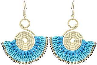 Gli orecchini in ottone dorato etnico Boho fili Spirale blu chiusura