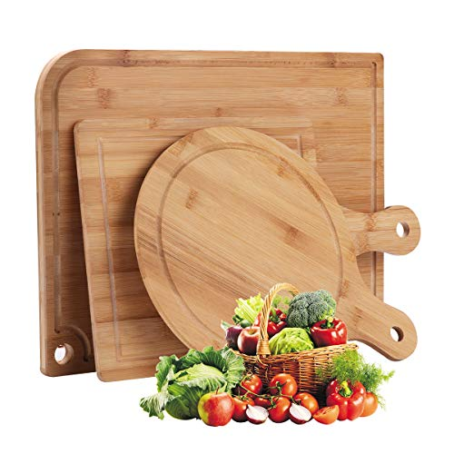 Ivoku Organic Bamboo Cutting Board Set 3-Piece with Juice Groove,Meat Chopping Boards,Pizza Peel Paddle with Handle for Homemade Baking Pizza Bread Cake Fruit Vegetables
