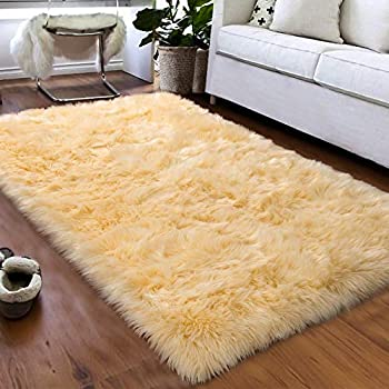 Softlife Fluffy Faux Fur Sheepskin Rugs Luxurious Wool Area Rug for Kids Room Bedroom Bedside Living Room Office Home Decor Carpet   3ft x 5ft Yellow