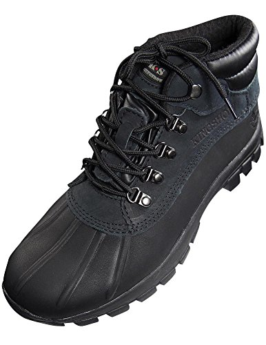 KINGSHOW Men Warm Waterproof Winter Snow Leather Boots Size:8.5 Color:Black