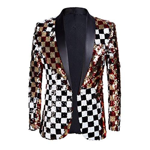 PYJTRL Mens Fashion Double-Side Color Red Gold Black White Plaid Sequins Blazer Suit Jacket (Color, 38)
