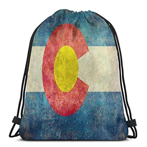 OPLKJ Rustic Colorado State Flag Gym Bag Incassable Drawstring Bag Premium Storage Bags Sacs de sport légers Sacs imperméables Sackpack Sac de voyage réglable Sacs à cordes à traction durable pour Tr