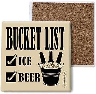 SJT ENTERPRISES, INC. Bucket List (ice & Beer) Absorbent Stone Coasters, 4-inch (4-Pack) (SJT04064)