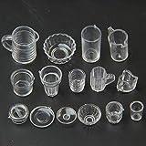 Heaviesk 15 unids/Set pequeña Bebida en Miniatura Taza de Helado Utensilios de Cocina Modelo niños plástico Transparente Juego de simulación Juguetes