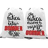 quickgadget Idea Regalo San Valentino Coppia Sacca Ginnastica GYMBACK - Che Fatica Vita da Bomber -...