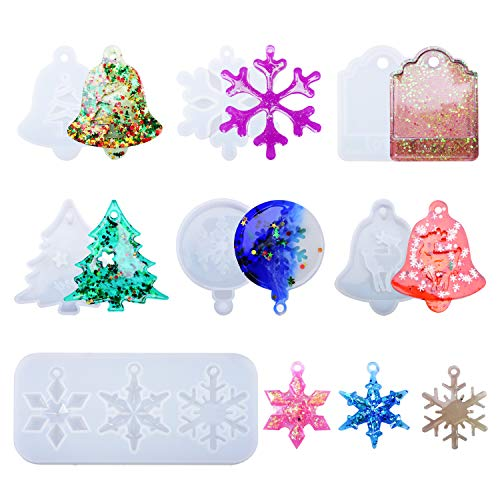 7Pcs Christmas Resin Molds Silicone, Resin Casting Mold Set for Christmas Decorations and Jewelry Pendants, Silicone Snowflake Ornament Mold DIY Bag Tag Keychain Mold