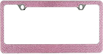 Popular Bling 7 Row Pink Color Crystal Metal Chrome License Plate Frame With Screw Caps - 1 Frame