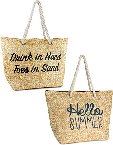 Beach Bag 2PK: Drinks/Hand (Nat) Hello Summer (Nat)