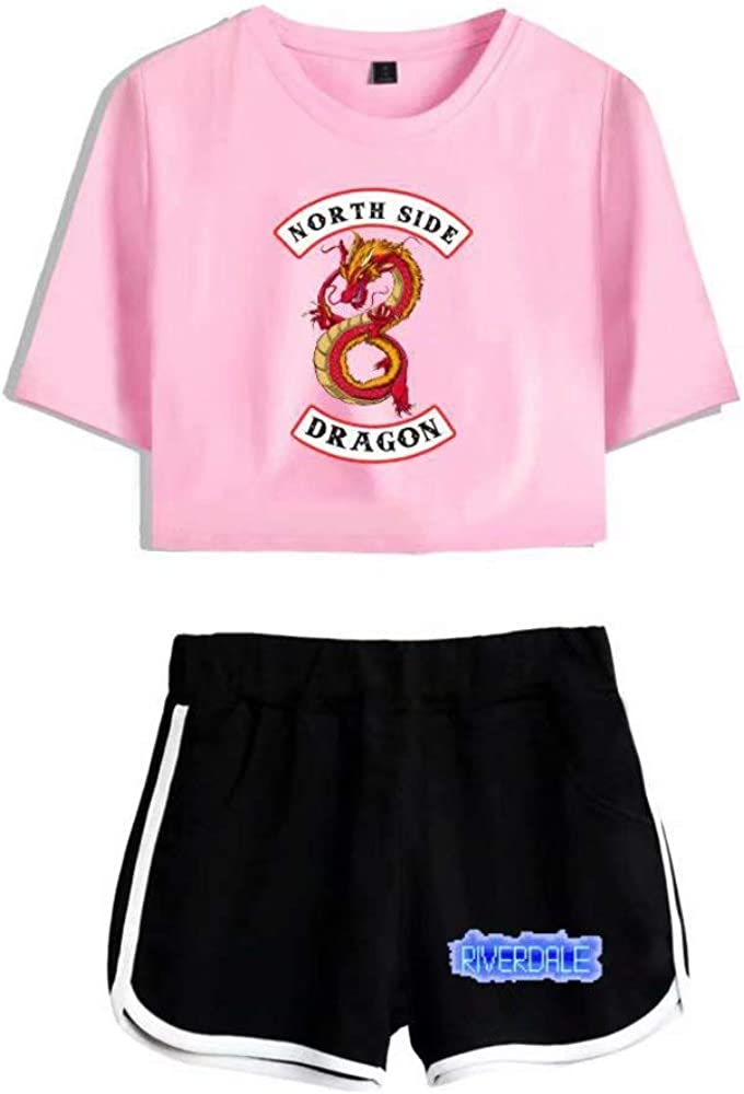 Zhucha Riverdale Crop Top T-Shirts and Shorts Suit Printed Tracksuit Outfits Set