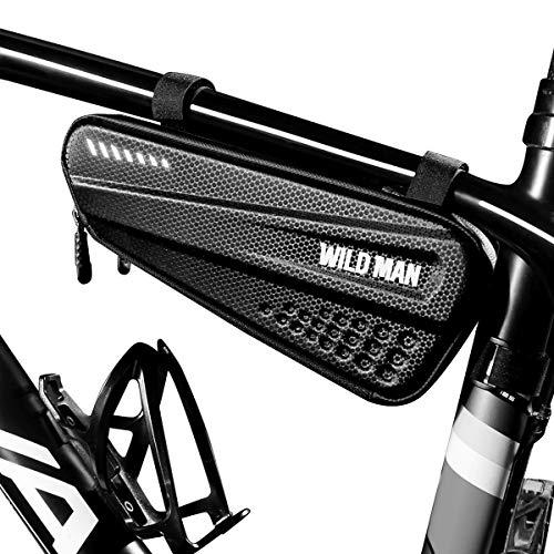 BTNEEU Borsa Telaio Bici Impermeabile Borsa da Bicicletta Triangolare Grande capacità 1,2 Riflessivo, Borsa Tubo Telaio Bici Borsa Bicicletta Telefono per Bici MTB (Nero)