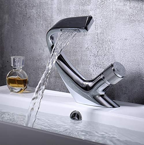 SCAYK Faucet Luxury Cuenca Moderno Latón Cascada Faucet Baño Grifo Grifo Cubierta Instalación Fregadero Grúa Agua Fondo Felícula Grifo Grifo Grifo Faucet Cabeza Cabeza Caliente Y FRÍO FLUIDA