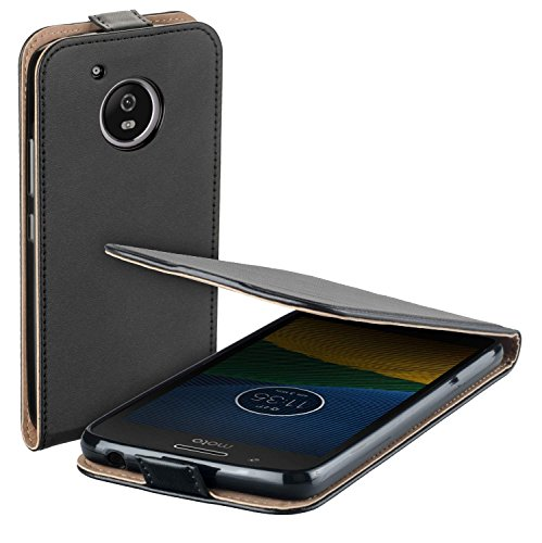 yayago Flip Tasche für Lenovo Motorola Moto G5 Schutzhülle Flip Hülle Hülle Klapphülle Schwarz