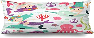 Ahawoso Zippered Body Pillow Cover 20x54 Inches Colorful Shell Pattern Mermaid Beautiful Animals Kids Wildlife Cute Ocean Childhood Girl Plant Anchor Decorative Cushion Case Home Decor Pillowcase