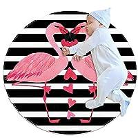 ベビーラウンド用プレイマット、クロールマットカーペットヨガエクササイズマット瞑想マット家の装飾滑り止めペットラグピンクのフラミンゴストライプファッション