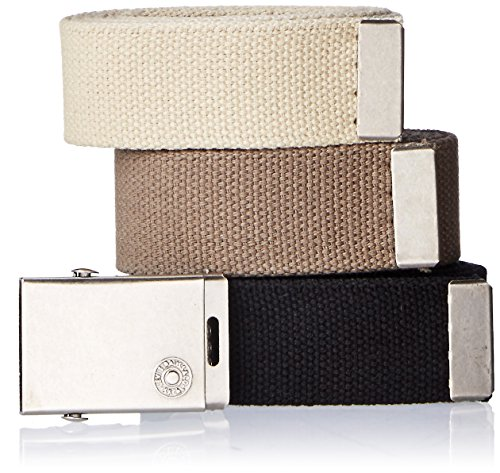 Levi's Men's Cut to Fit Web Belt with Buckle (Black/Olive/Khaki) - Pack of 3