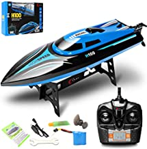 Costzon 2.4G Rc High Speed Racing Boat for Pools Lakes Outdoor, 30 Km/H Radio Control Boat Toys for Adults & Kids, 4CH Rechargeable Racing Boat by Remote Control Blue