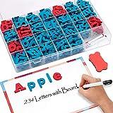 JoyNote Classroom Magnetic Letters Kit 234 Pcs with Double-Side Magnet Board - Foam Alphabet Letters...