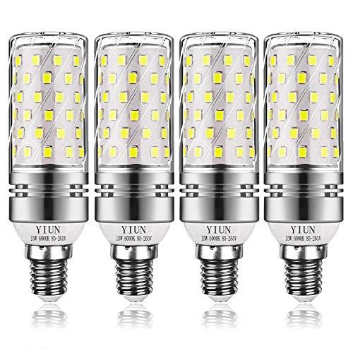 Yiun E14 Lampadine di Mais a LED 15W, Lampadine a Incandescenza da 120W Equivalenti, 6000K Bianco Freddo, Non Dimmerabile, 1400Lm, Piccola Vite Edison Lampadine Mais, 4-Pacco