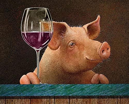 5D Diy Kit De Pinturas Diamante Grandes,Cerdo Mascota Bebiendo Vino Tinto Cristales...