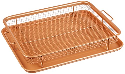 Gotham Steel Unique Elevated Nonstick Crisper Tray, XL, Brown