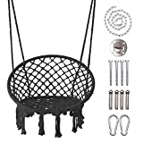 LAZZO Round Hammock Chair Hanging Knitted Mesh Cotton Rope Macrame Swing, 260 Pounds Capacity, 23.6' Seat Width,for Bedroom, Outdoors, Garden, Patio, Yard. Child, Girl, Adult (Black)