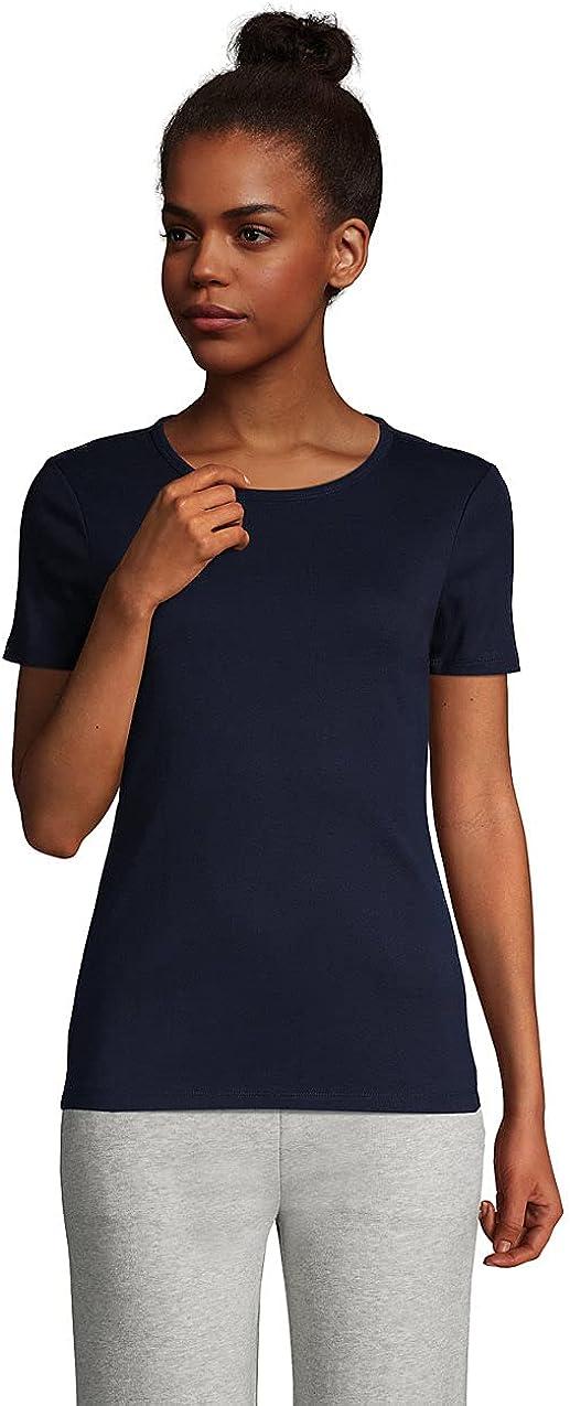 Lands' End Women's All Cotton Short Sleeve Crewneck T-Shirt