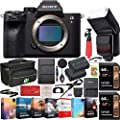 Sony a7R IV 61.0MP Full-Frame Mirrorless Interchangeable Lens Camera Body ILCE-7RM4 4K Bundle with 128GB Memory (2 x 64GB Cards), Flash, Extra Battery, Software, Deco Gear Bag & Accessories (9 Items)