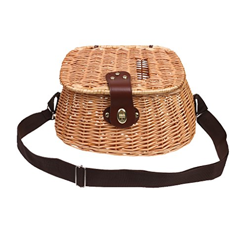 CUTICATE Wicker Fishing Basket with Adjustable Shoulder Strap Fishing Tackle Home Decoration,Brown,36x23x19cm