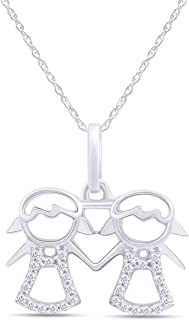 AFFY Adorable Two Twins Girl Family Pendant Necklace in 14k Gold Over Sterling Silver