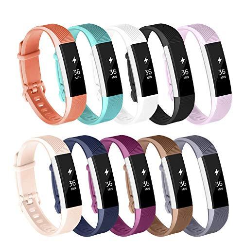Adepoy Ersatzarmbänder kompatibel für Fitbit Alta/Alta HR, verstellbare Sport Smartwatch Fitness Armband für Frauen Männer 10pack Klein