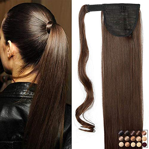 Rajout Queue de Cheval Postiche Extension de Cheveux Synthetique Lisse - Wrap Around Ponytail - Marron (26 Pouces/66cm-135g)