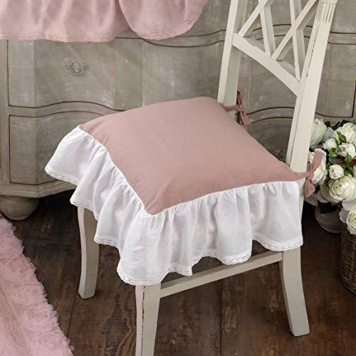 AT17 Cuscino per Sedia Shabby Chic Bonbons Collection 40 x 40 Colore Rosa/Balza Bianca