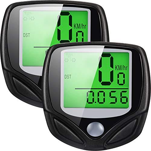 2 Pack Multi-Functions Bicycle Speedometer Wireless Bike Odometer Waterproof Cycle