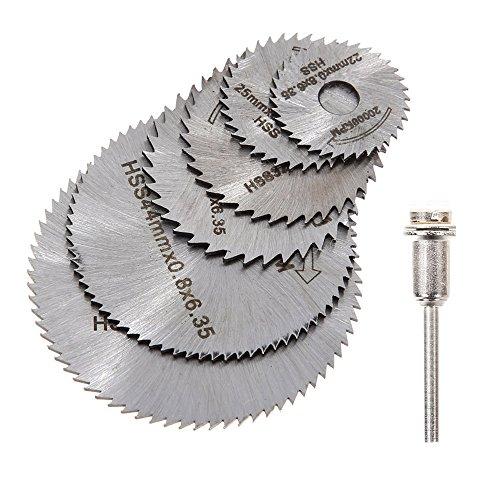 Yakamoz 6 Pcs HSS Circular Saw Blade Rotary Tool with 3.17mm Mandrels for Dremel Fordom Rotary Tool