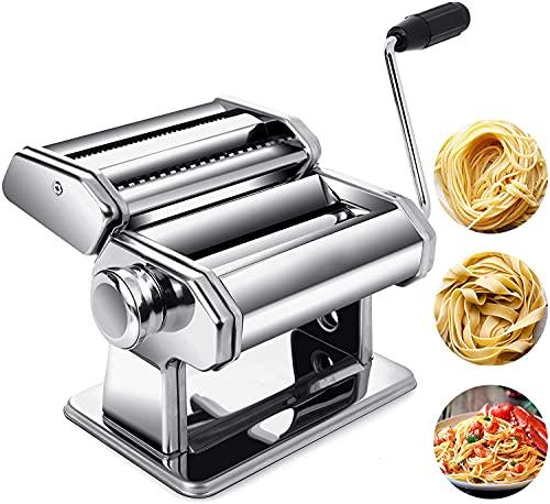 Macchina per Pasta Manuale, Macchina per La Pasta 3 in 1 in Acciaio Inossidabile, 9 Impostazioni di Spessore, per Tagliatelle/Spaghetti/Lasagna/Ravioli