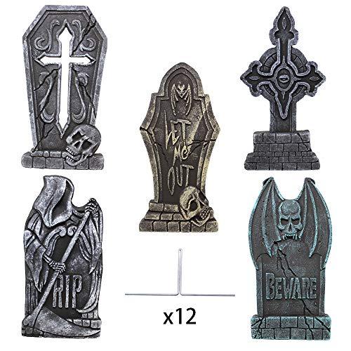JOYIN 43cm Halloween Schaumstoff RIP Friedhof Grabsteine (5er Pack), Grabstein Dekorationen und 12 Metall Bodenspitze für Halloween Garten Dekoration
