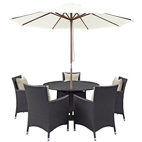 lexmod patio furniture sets LexMod Convene 7 Piece Outdoor Patio Dining Set in Espresso Beige