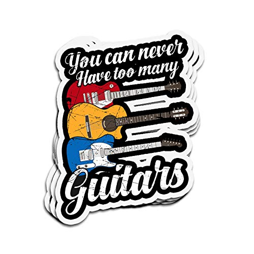 Jarky Love 3 PCs Stickers You Can Never Many Guitars, Music Guitars 4 × 3 Inch Die-Cut Wall Decals for Laptop Window