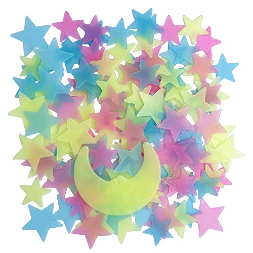 Glow in The Dark Stars for Celling, Glowing Stars Wall Decals, 150pcs Plastic Stars Wall Sticker and A Moon Decor, Removable Murals Decals for Kid's Bedding Room Decorations (Colorful)