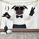 Ambesonne Pug Tapestry, Pug with Champagne Glass and Peace Sign Cool Looking Dog Celebration Animal, Wide Wall Hanging for Bedroom Living Room Dorm, 60' X 40', White and Black