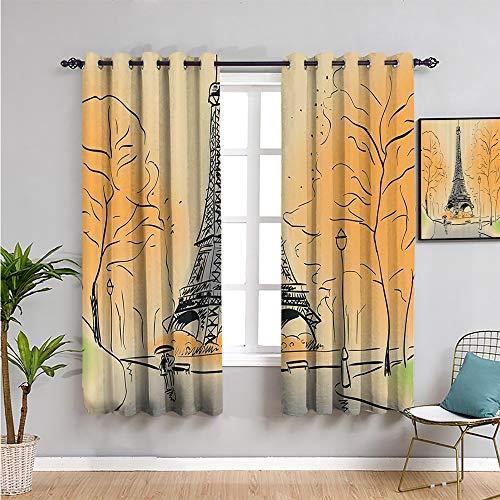 Xlcsomf Paris City Decor Collection Cortina oscurecida para habitación, cortinas de 99 cm de largo, color marfil