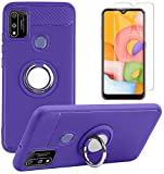 Coolpad SUVA Phone Case with Tempered Glass Screen Protector, Rotating Ring [Magnetic Car Mount] [360°Kickstand] Holder [Fashion] Soft TPU Protection Cover Case for Coolpad SUVA (Boost) (Purple)