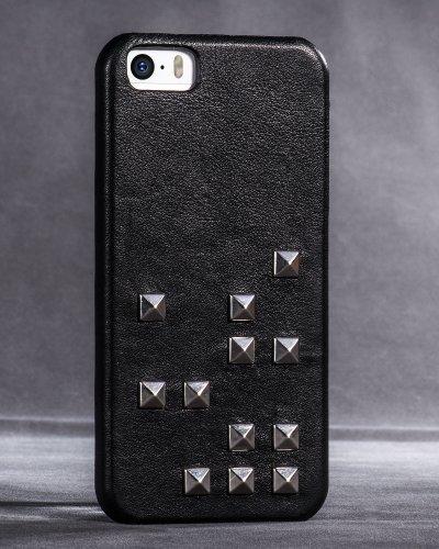 Hoco Borofone Diamond Series Nieten Lautsprecher Echtleder handgefertigt Rückseite Case in Partnerschaft mit MTV für iPhone 5/5S, Schwarz