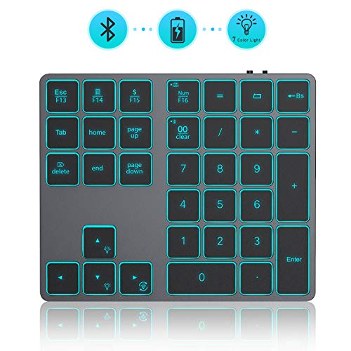 Wireless Bluetooth Backlit Numeric Keypad, Jelly Comb Rechargeable Number Pad Keyboard with 34 Keys for PC, Laptop, MacBook, iMac, Win, Mac OS, Space Gray