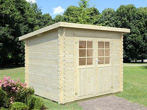 Gartenhaus Pinus P14a naturbelassen inkl. Fußboden - 28 mm Blockbohlenhaus, Grundfläche: 5 m², Pultdach
