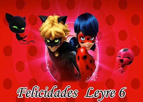 OBLEA de Ladybug Personalizada con Nombre y Edad para Pastel o Tarta, Especial para cumpleaños, Medida Rectangular de 28x20cm