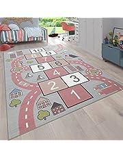 Vloerkleed voor de kinderkamer, speelvloerkleed straatmotief, hinkelbrits, roze, Maat:200 cm vierkant